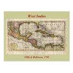 Mapa 1790 de las Antillas del fenómeno y de Postales