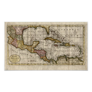 Mapa 1790 de las Antillas del fenómeno y de Póster