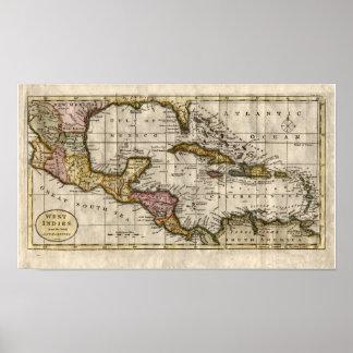 Mapa 1790 de las Antillas del fenómeno y de Robins Poster