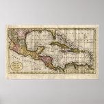 Mapa 1790 de las Antillas del fenómeno y de Robins Póster