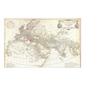 Mapa 1794 de Anville del mundo antiguo Papeleria