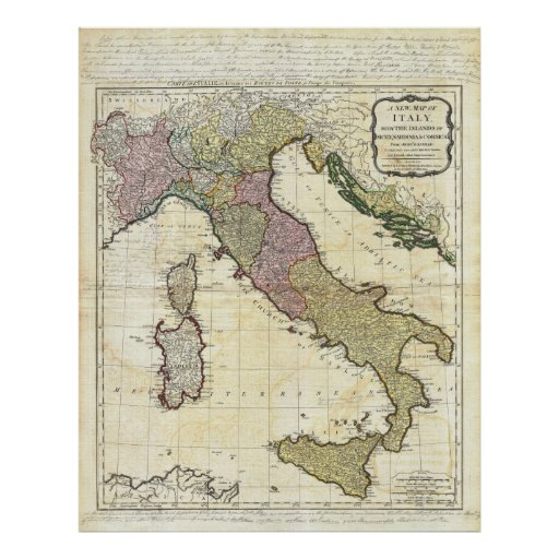 Mapa 1794 de D'Anville Italia del Bourguignon de J Póster