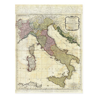 Mapa 1794 de D'Anville Italia del Bourguignon de Tarjetas Postales