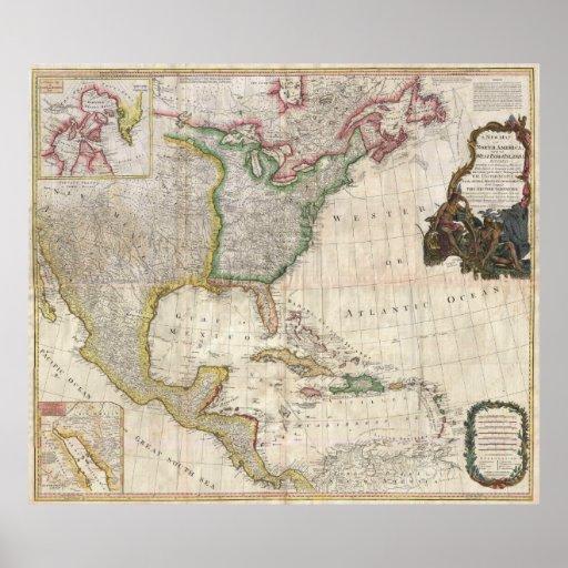 Mapa 1794 de Pownell de Norteamérica y de las Anti Impresiones