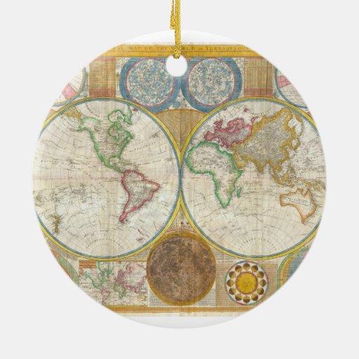 Mapa 1794 de Samuel Dunn del mundo en hemisferios Adorno Navideño Redondo De Cerámica