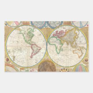 Mapa 1794 de Samuel Dunn del mundo en hemisferios Pegatina Rectangular
