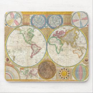 Mapa 1794 de Samuel Dunn del mundo en hemisferios Tapete De Ratones