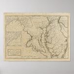 Mapa 1795 de Maryland del vintage Póster