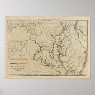 Mapa 1795 de Maryland del vintage Posters