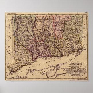 Mapa 1796 de Connecticut del vintage Póster