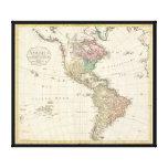 Mapa 1796 de Mannert del norte y de Suramérica Lona Envuelta Para Galerias