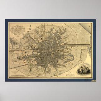 Mapa 1797 de Dublín Irlanda Póster