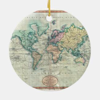Mapa 1801 de Cary del mundo en la proyección de Ornamentos De Reyes Magos