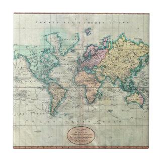 Mapa 1801 de Cary del mundo en la proyección de Me Teja Cerámica