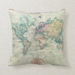 Mapa 1801 de Cary del mundo en la proyección de Me Almohadas