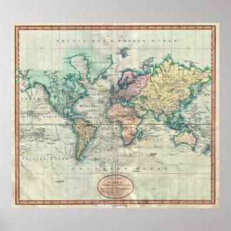 Mapa 1801 de Cary del mundo en la proyección de Me Posters