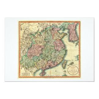 """Mapa 1801 de Juan Cary de China y de Corea Invitación 5"""" X 7"""""""
