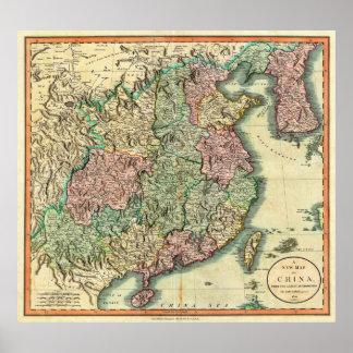 Mapa 1801 de Juan Cary de China y de Corea Impresiones