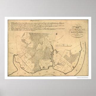 Mapa 1801 del Mt Vernon de la granja de general Wa Póster