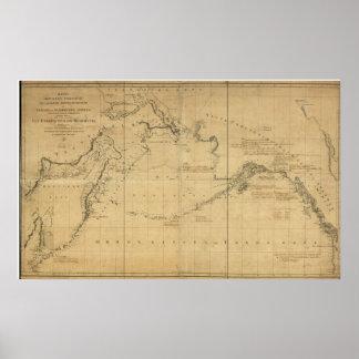 Mapa 1802 de Rusia, de Alaska, y del estrecho de B Póster