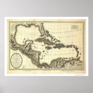 Mapa 1806 de las Antillas y del Golfo de México Póster