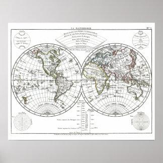 Mapa 1806 del atlas: La Mappemonde de Eustache Hér Poster