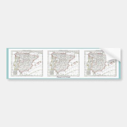 Mapa 1806 - L'Espagne y le Portugal Pegatina Para Auto