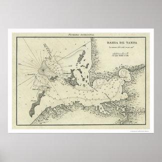 Mapa 1809 de Bahía De Tampa la Florida Impresiones