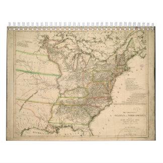 Mapa 1809 de los Estados Unidos de Norteamérica Calendarios