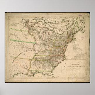 Mapa 1809 de los Estados Unidos de Norteamérica Poster
