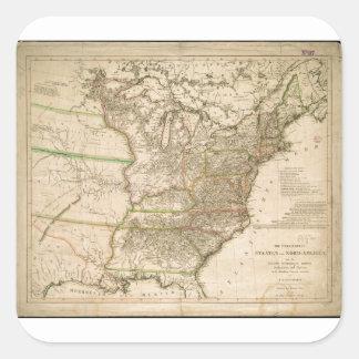 Mapa 1809 de los Estados Unidos de Norteamérica Pegatina Cuadrada