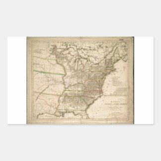 Mapa 1809 de los Estados Unidos de Norteamérica Pegatina Rectangular