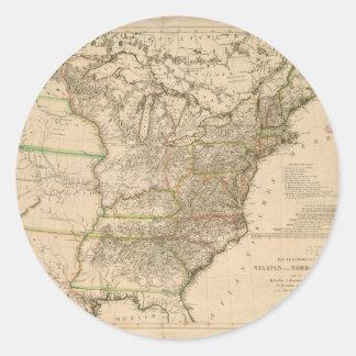 Mapa 1809 de los Estados Unidos de Norteamérica Pegatina Redonda