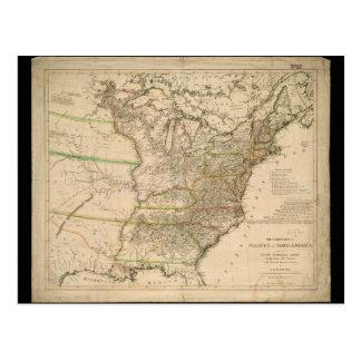 Mapa 1809 de los Estados Unidos de Norteamérica Tarjetas Postales