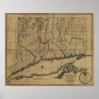 Mapa 1813 de Connecticut del vintage Póster