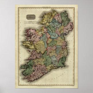 Mapa 1813 de Irlanda de Juan Pinkerton Impresiones