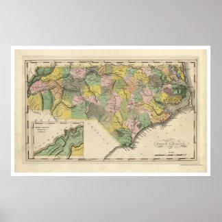 Mapa 1814 de Carolina del Norte Póster