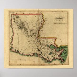 Mapa 1814 de Luisiana del vintage Posters