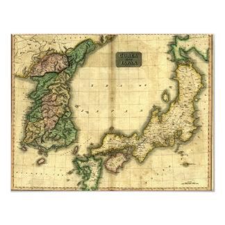 """Mapa 1815 de Corea y de Japón Invitación 4.25"""" X 5.5"""""""
