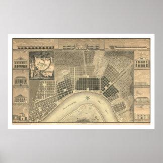 Mapa 1815 del plan de New Orleans Póster