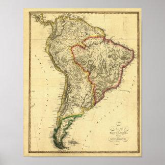 Mapa 1817 de Suramérica Poster