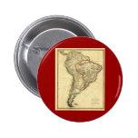 Mapa 1817 de Suramérica Pin Redondo De 2 Pulgadas