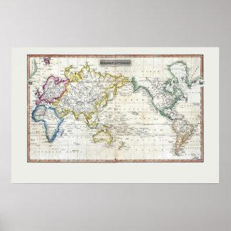 Mapa 1817 del mundo poster