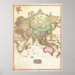 Mapa 1818 de Juan Pinkerton del hemisferio del est Poster