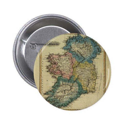 Mapa 1823 de Irlanda por el JR que coloca de Lucas Pin Redondo 5 Cm