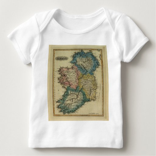 Mapa 1823 de Irlanda por el JR que coloca de Lucas Playera De Bebé