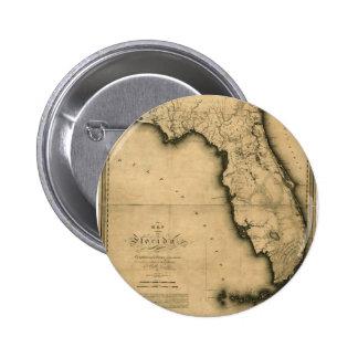 Mapa 1823 de la Florida Pin Redondo De 2 Pulgadas