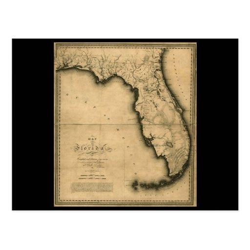 Mapa 1823 de la Florida Postales