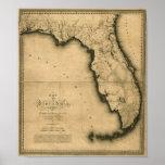 Mapa 1823 de la Florida Póster