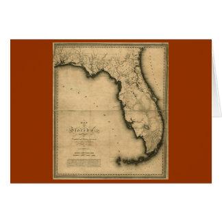 Mapa 1823 de la Florida Tarjeta De Felicitación